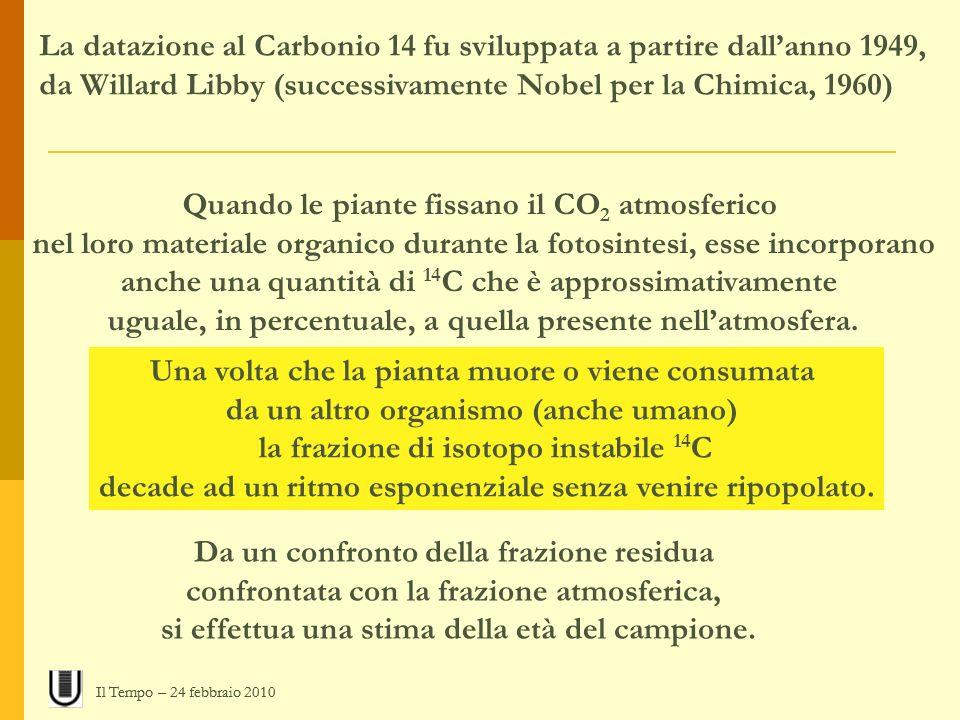 La datazione al Carbonio 14 fu sviluppata a partire dall'anno 1949,
