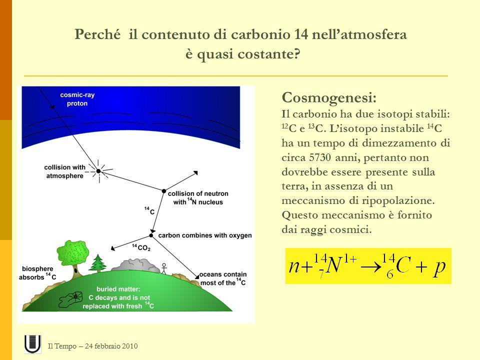 Perché il contenuto di carbonio 14 nell'atmosfera