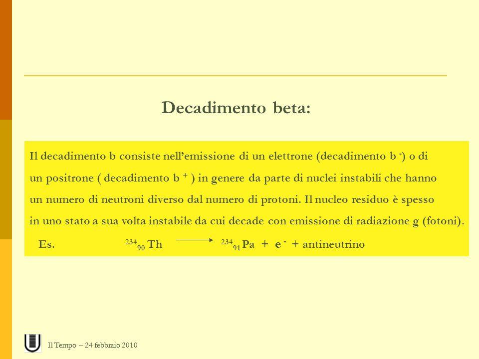 Decadimento beta: Il decadimento b consiste nell'emissione di un elettrone (decadimento b -) o di.