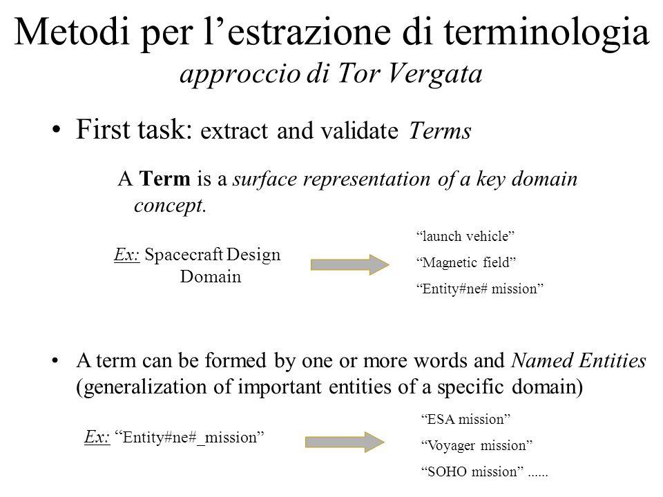 Metodi per l'estrazione di terminologia approccio di Tor Vergata