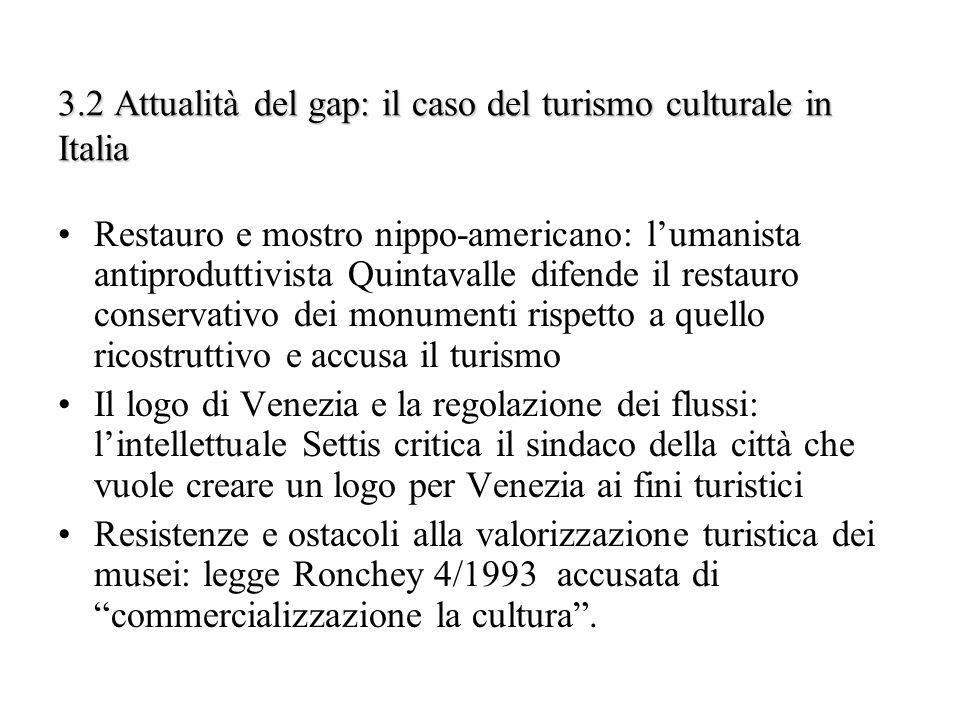 3.2 Attualità del gap: il caso del turismo culturale in Italia