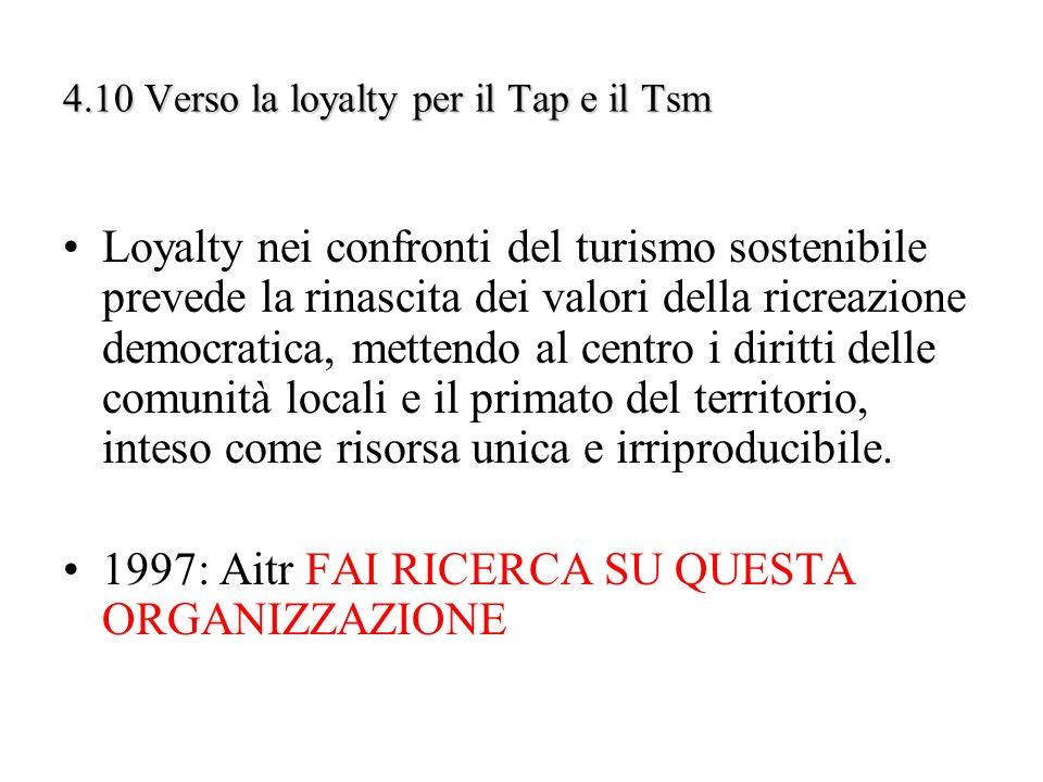 4.10 Verso la loyalty per il Tap e il Tsm