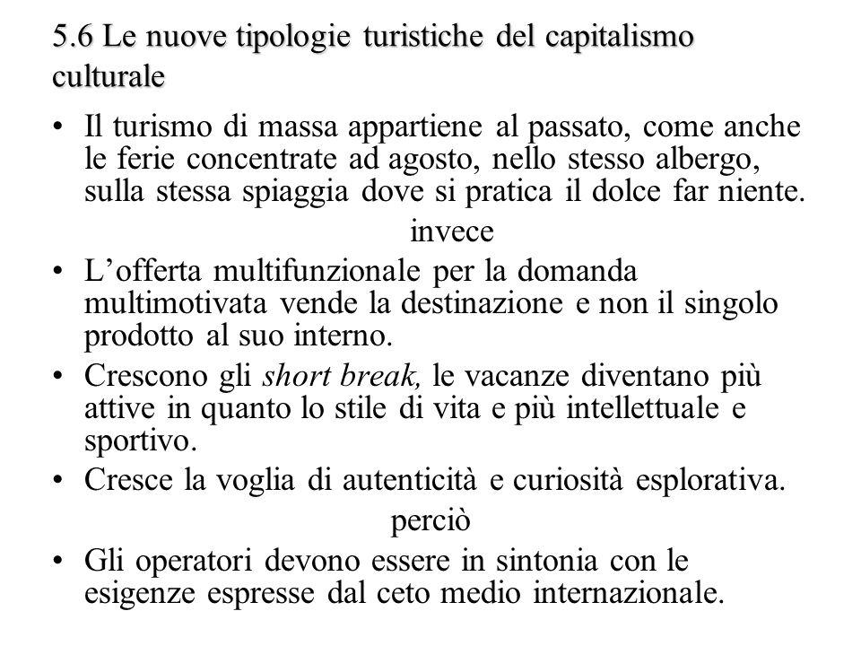 5.6 Le nuove tipologie turistiche del capitalismo culturale