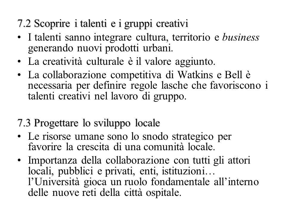 7.2 Scoprire i talenti e i gruppi creativi