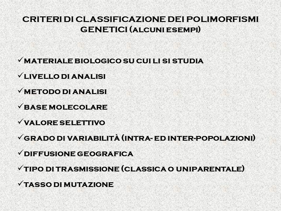 CRITERI DI CLASSIFICAZIONE DEI POLIMORFISMI GENETICI (alcuni esempi)