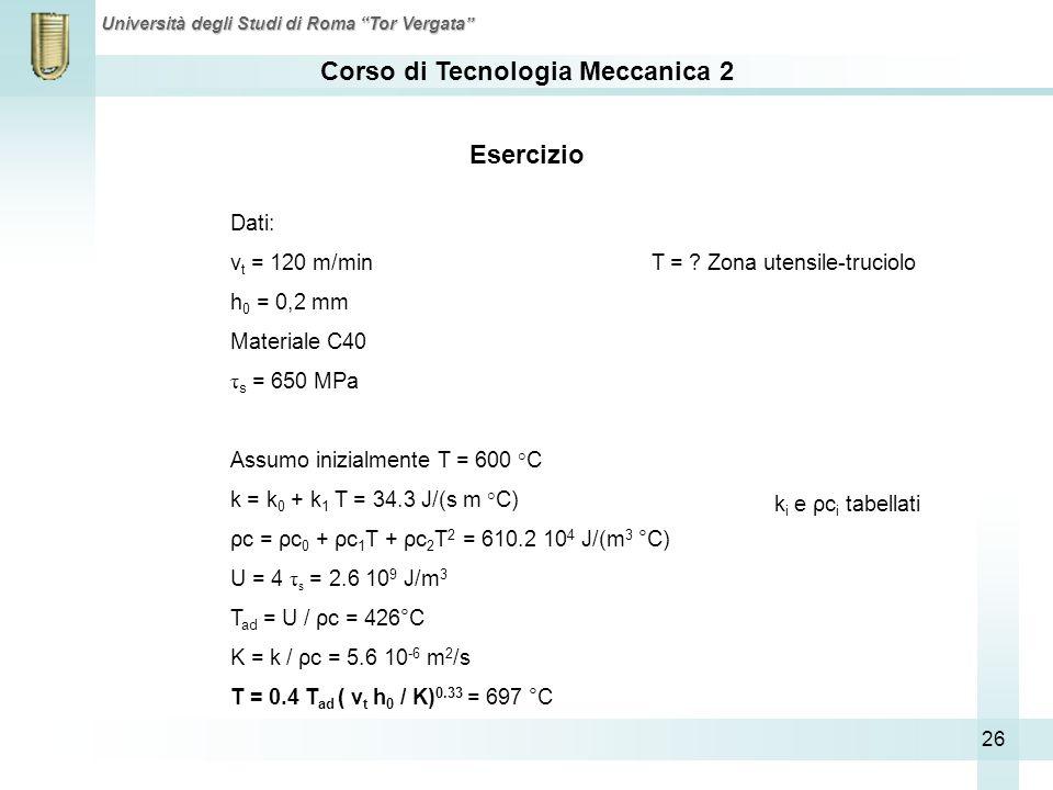 Esercizio Dati: vt = 120 m/min T = Zona utensile-truciolo
