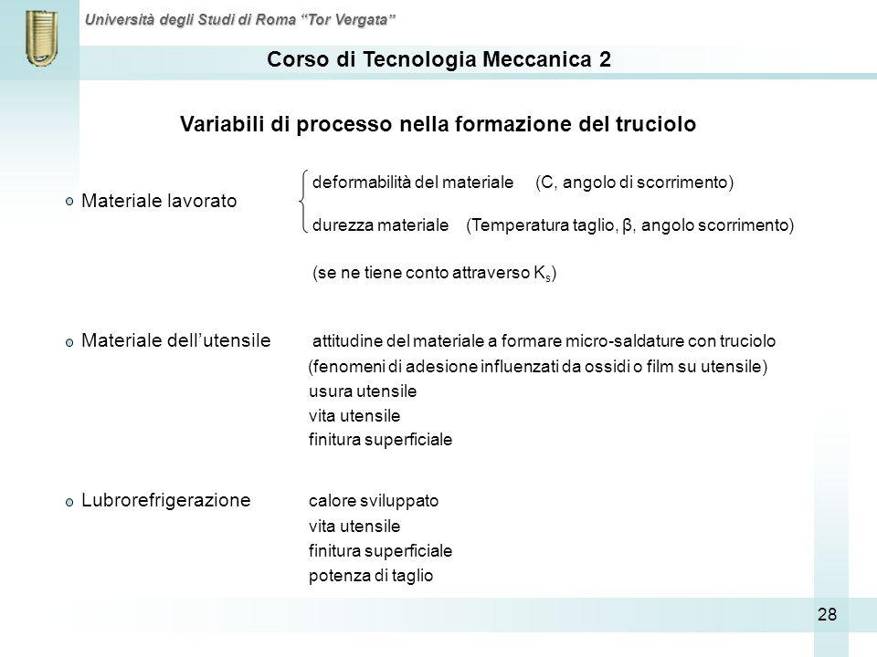 Variabili di processo nella formazione del truciolo