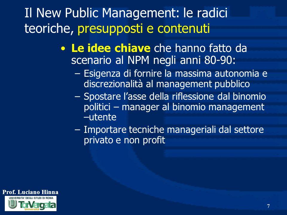 Il New Public Management: le radici teoriche, presupposti e contenuti