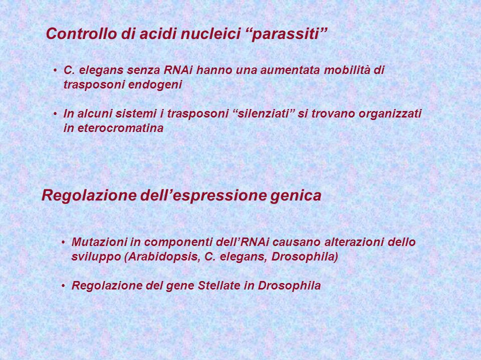 Controllo di acidi nucleici parassiti