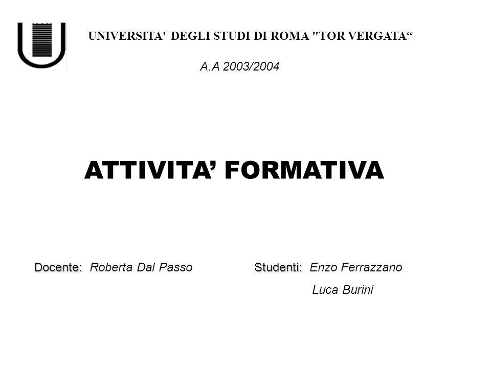 ATTIVITA' FORMATIVA UNIVERSITA DEGLI STUDI DI ROMA TOR VERGATA