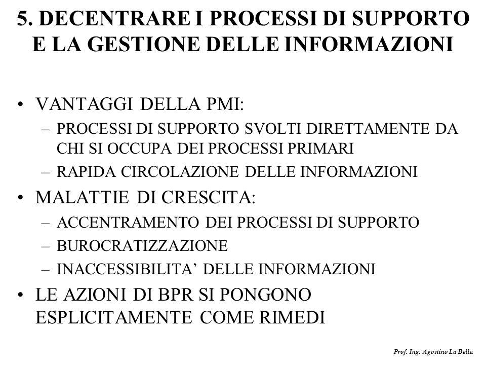 5. DECENTRARE I PROCESSI DI SUPPORTO E LA GESTIONE DELLE INFORMAZIONI
