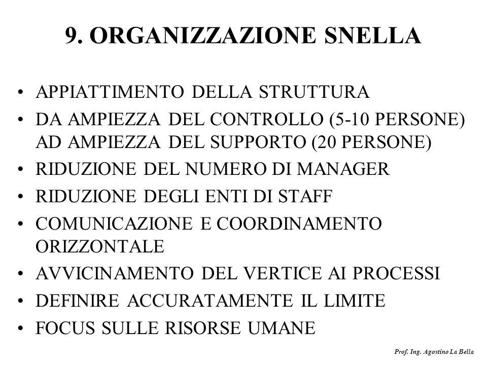 9. ORGANIZZAZIONE SNELLA