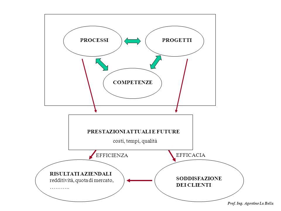 PROCESSI PROGETTI. COMPETENZE. PRESTAZIONI ATTUALI E FUTURE. costi, tempi, qualità. EFFICIENZA.