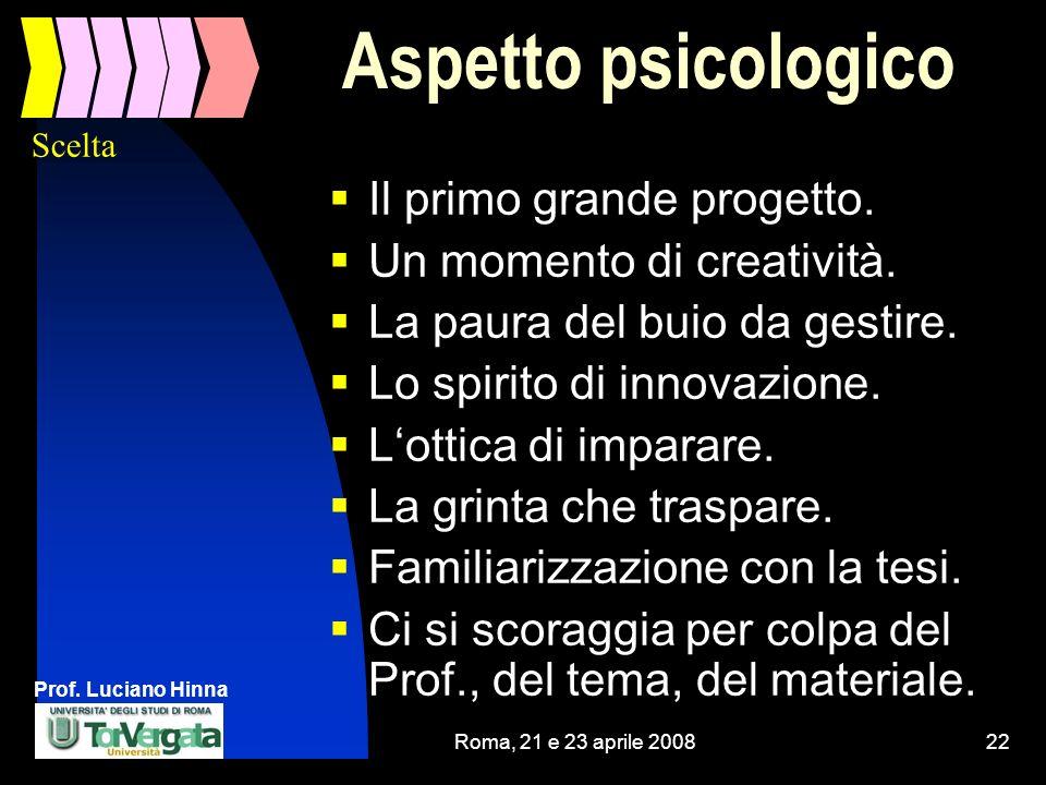 Aspetto psicologico Il primo grande progetto.