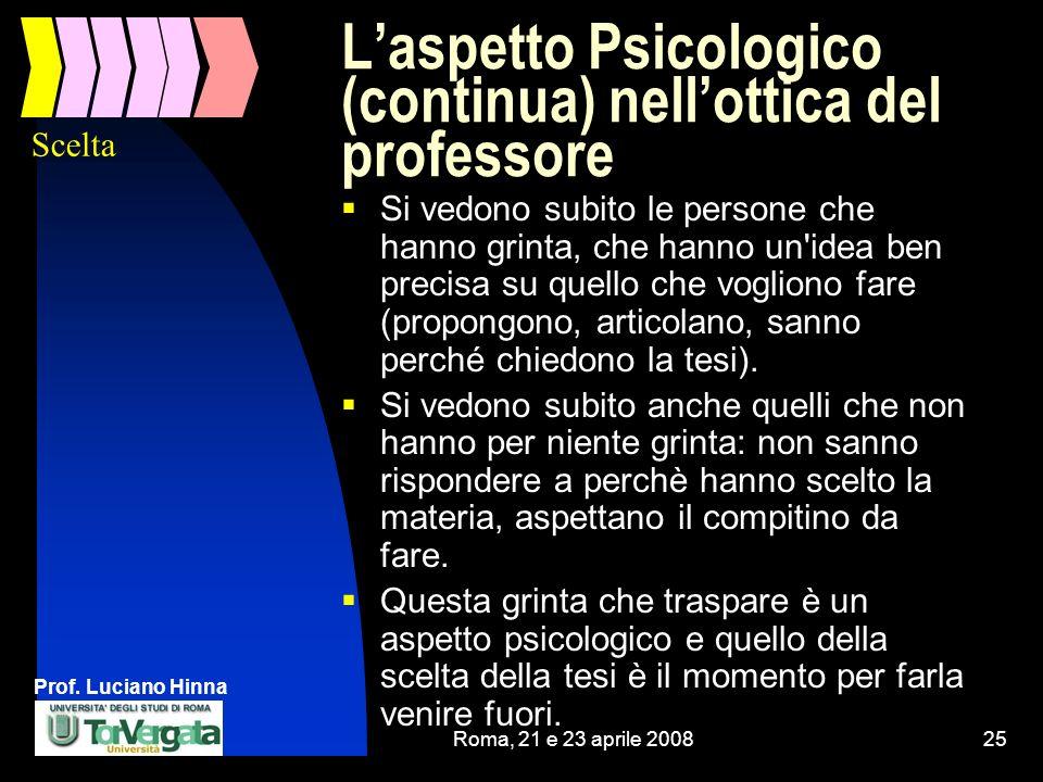 L'aspetto Psicologico (continua) nell'ottica del professore