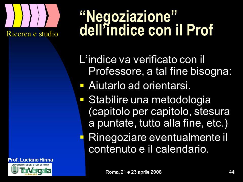 Negoziazione dell'indice con il Prof