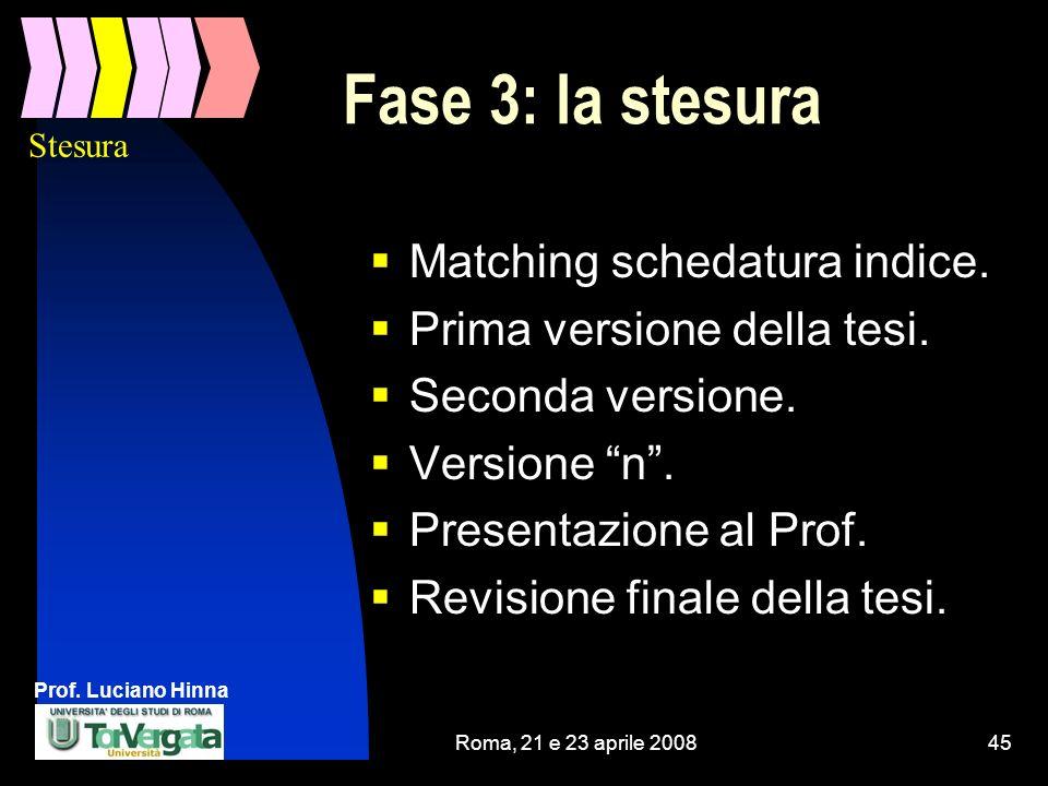 Fase 3: la stesura Matching schedatura indice.