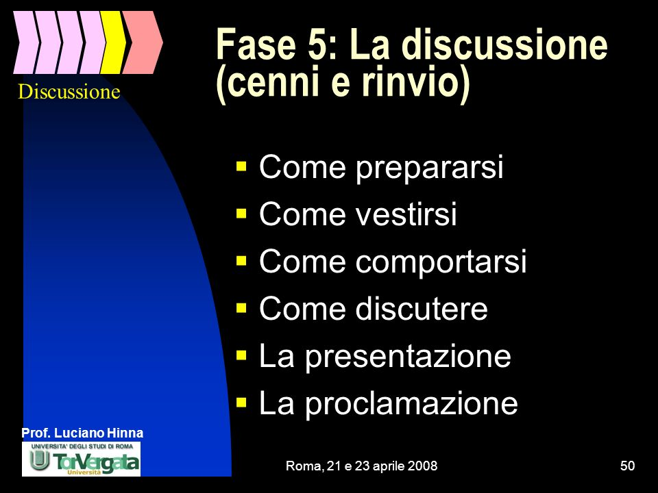 Fase 5: La discussione (cenni e rinvio)