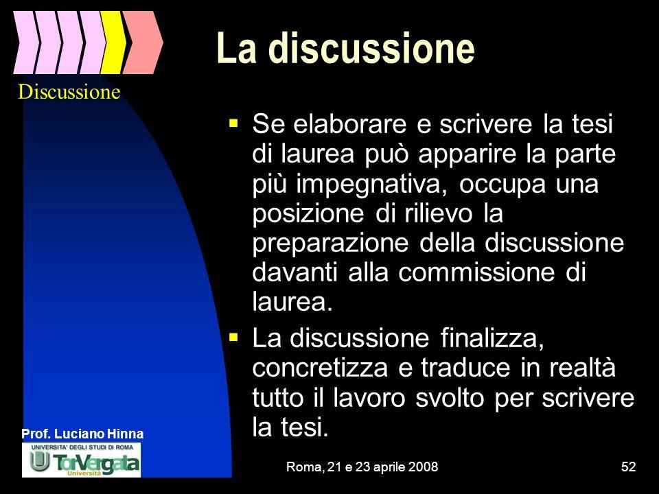 Discussione La discussione.