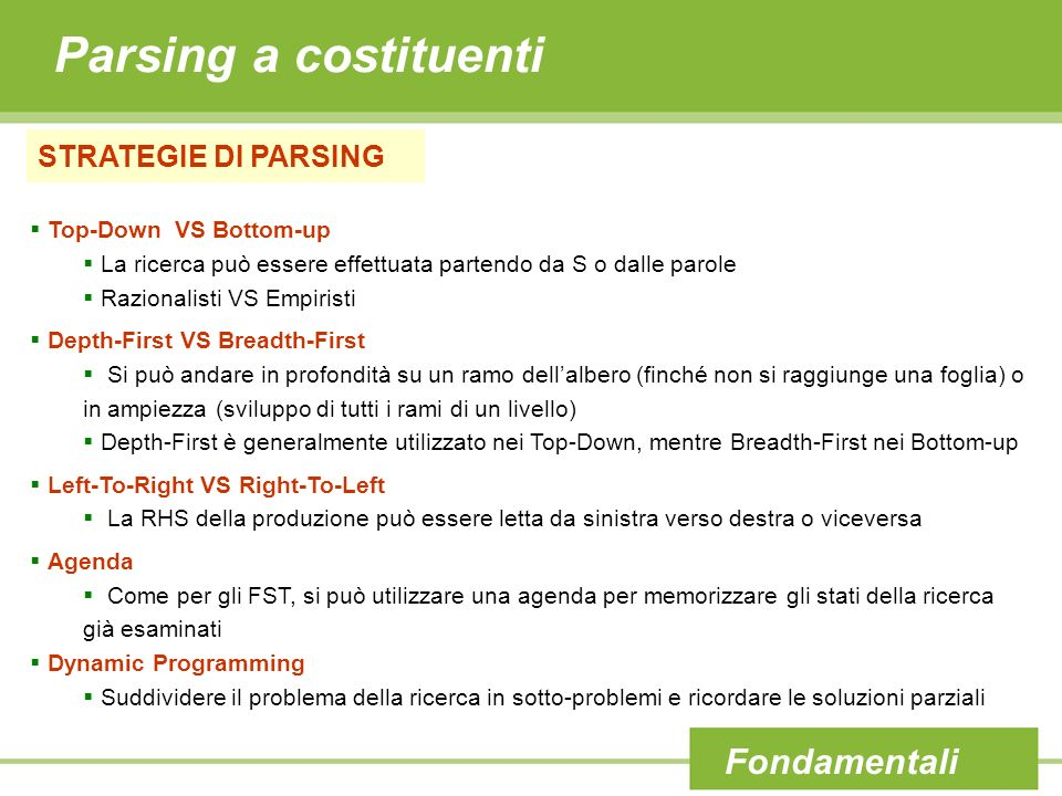 Parsing a costituenti Fondamentali STRATEGIE DI PARSING