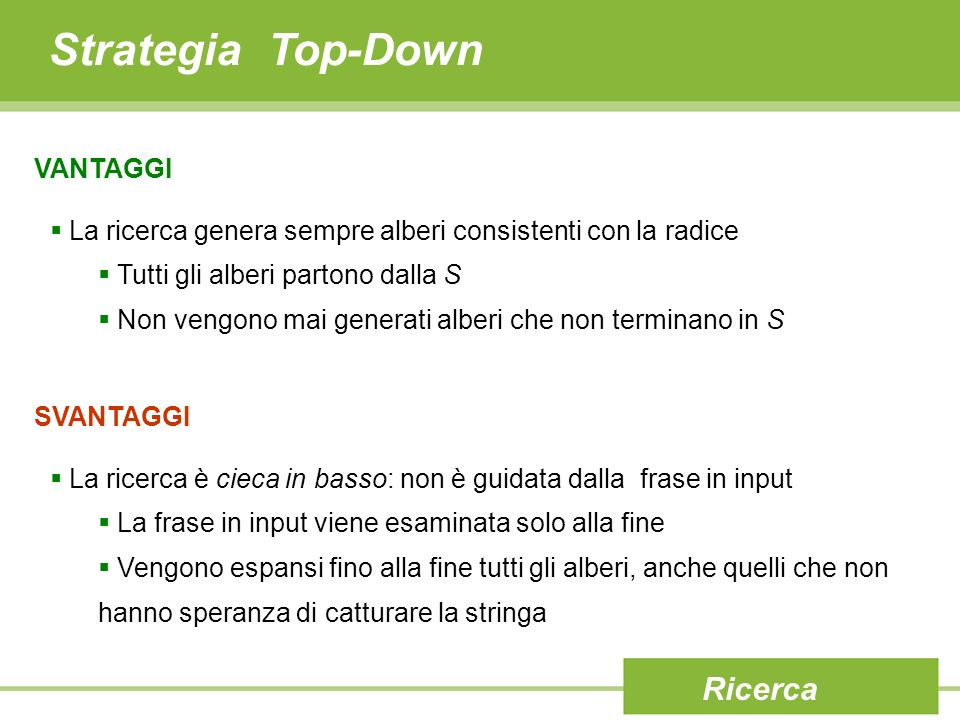 Strategia Top-Down Ricerca VANTAGGI