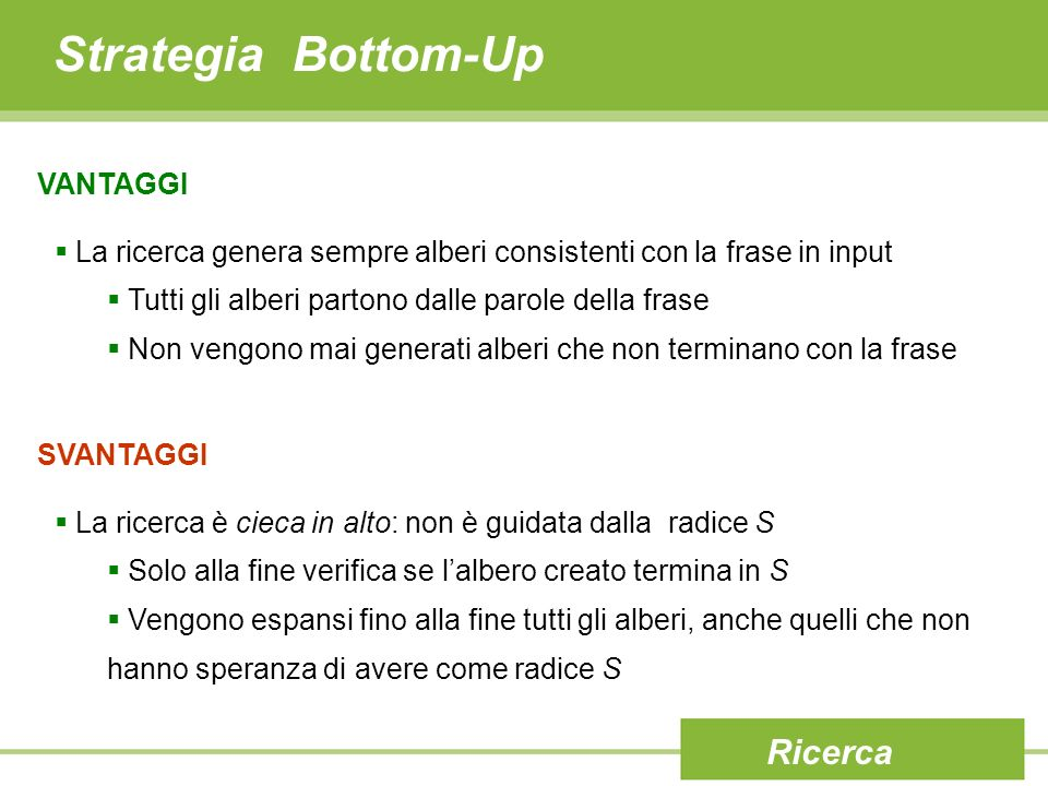 Strategia Bottom-Up Ricerca VANTAGGI