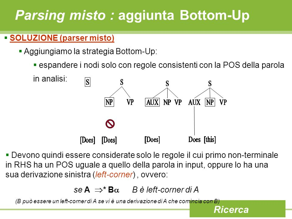 Parsing misto : aggiunta Bottom-Up
