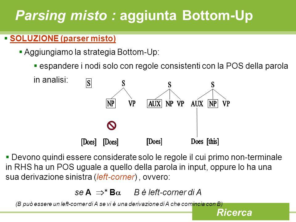 Parsing misto : aggiunta Bottom-Up
