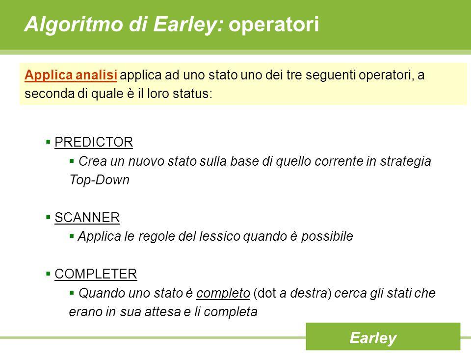 Algoritmo di Earley: operatori