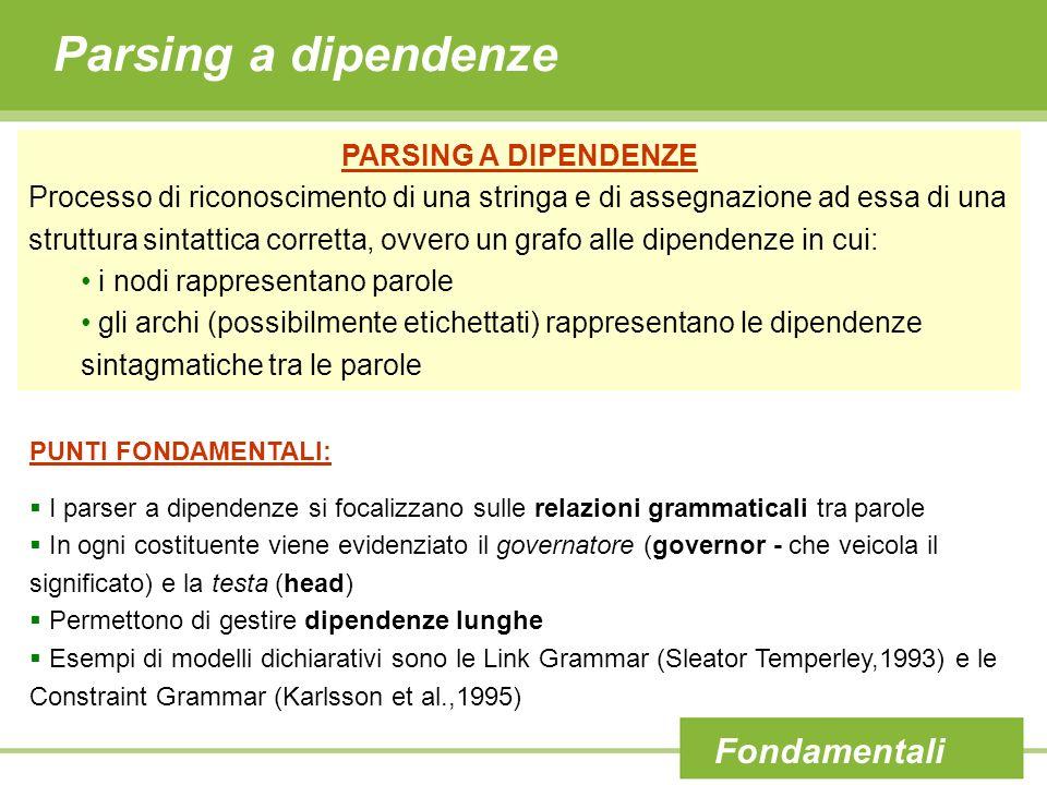 Parsing a dipendenze Fondamentali PARSING A DIPENDENZE