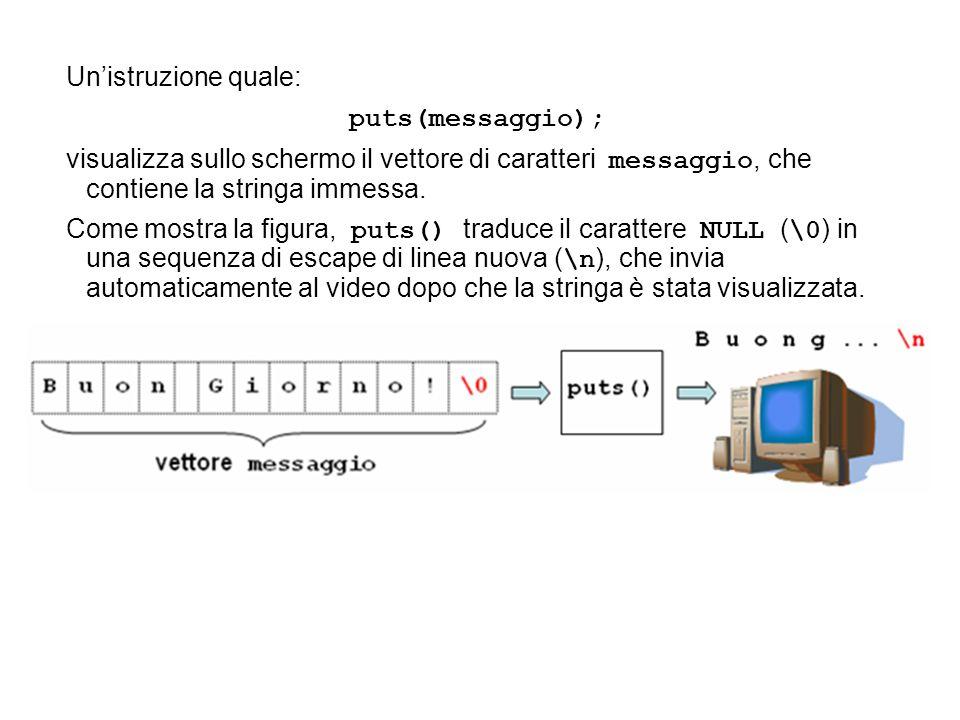 Un'istruzione quale:puts(messaggio); visualizza sullo schermo il vettore di caratteri messaggio, che contiene la stringa immessa.