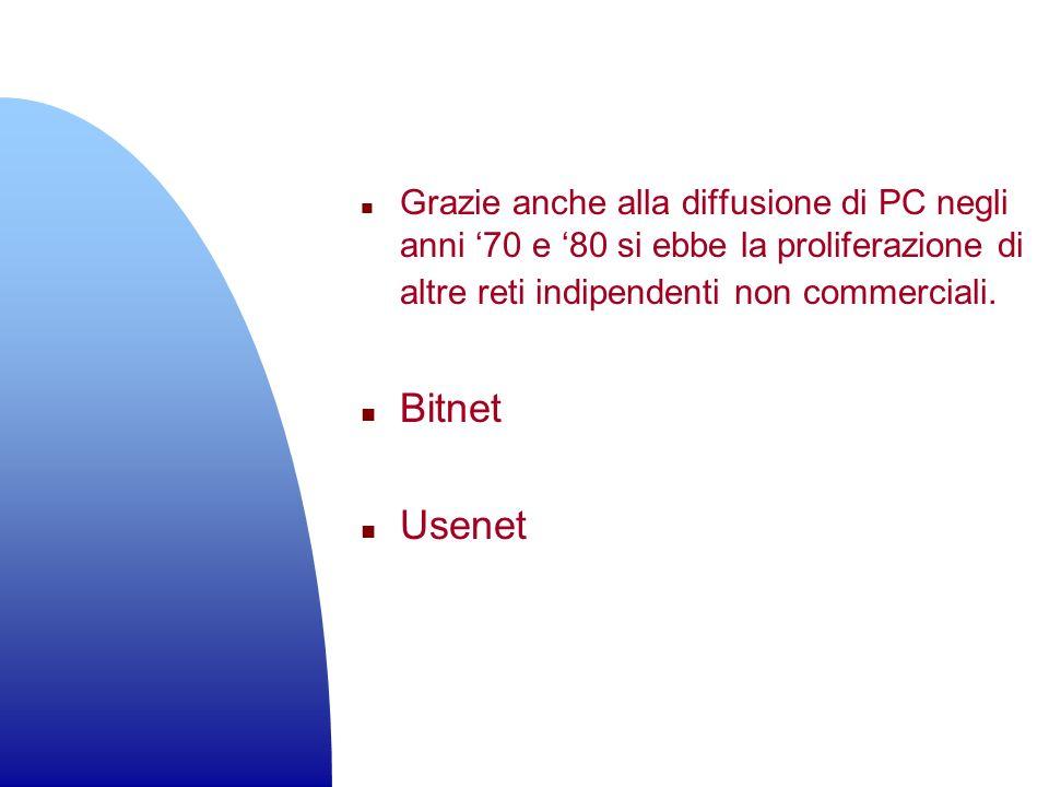 Grazie anche alla diffusione di PC negli anni '70 e '80 si ebbe la proliferazione di altre reti indipendenti non commerciali.