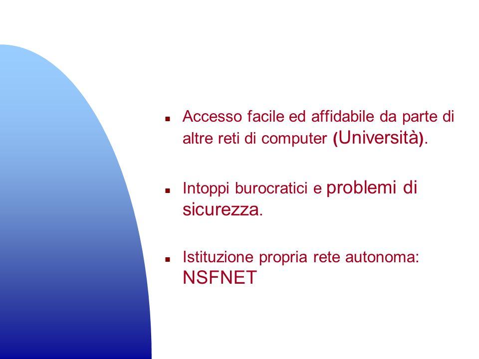 Accesso facile ed affidabile da parte di altre reti di computer (Università).