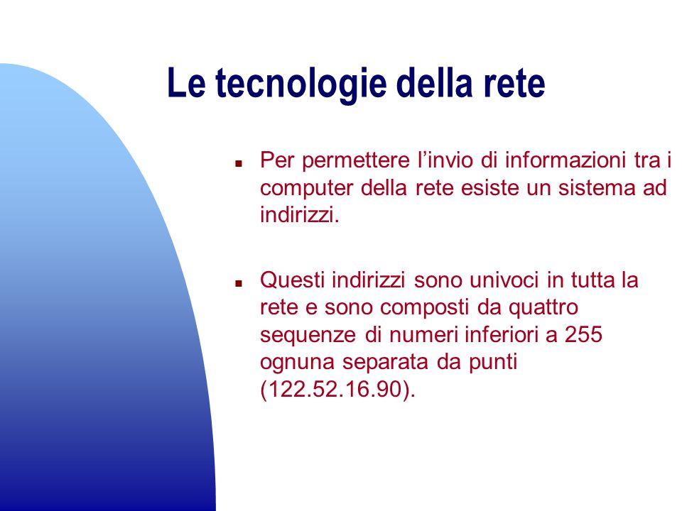 Le tecnologie della rete