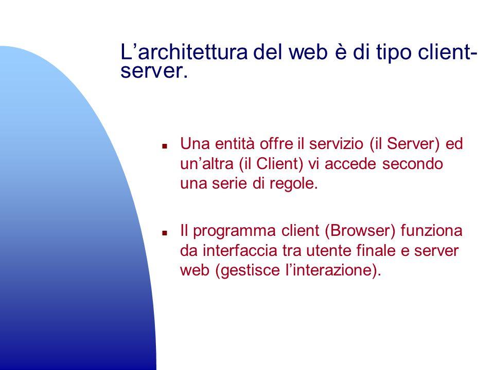 L'architettura del web è di tipo client-server.