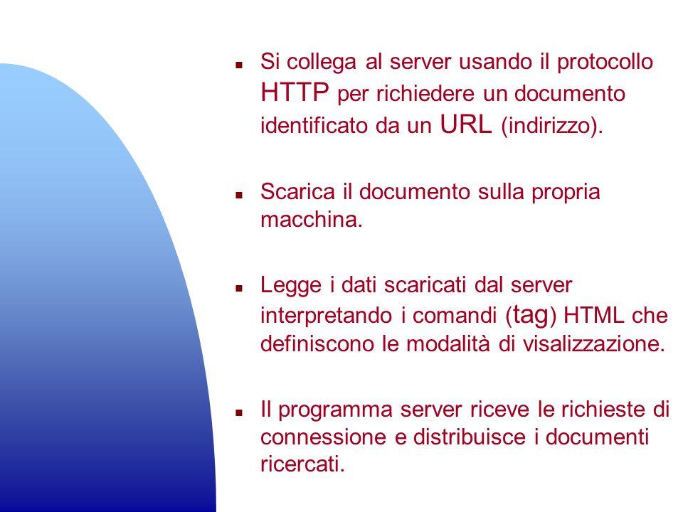 Si collega al server usando il protocollo HTTP per richiedere un documento identificato da un URL (indirizzo).