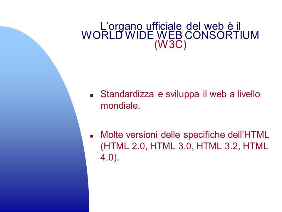 L'organo ufficiale del web è il WORLD WIDE WEB CONSORTIUM (W3C)