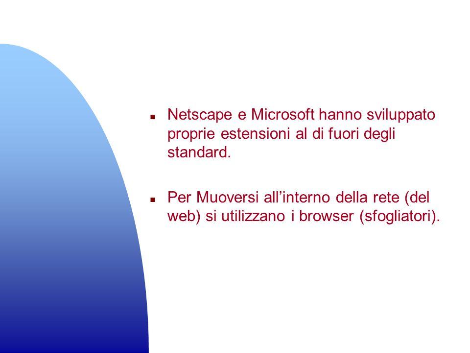 Netscape e Microsoft hanno sviluppato proprie estensioni al di fuori degli standard.