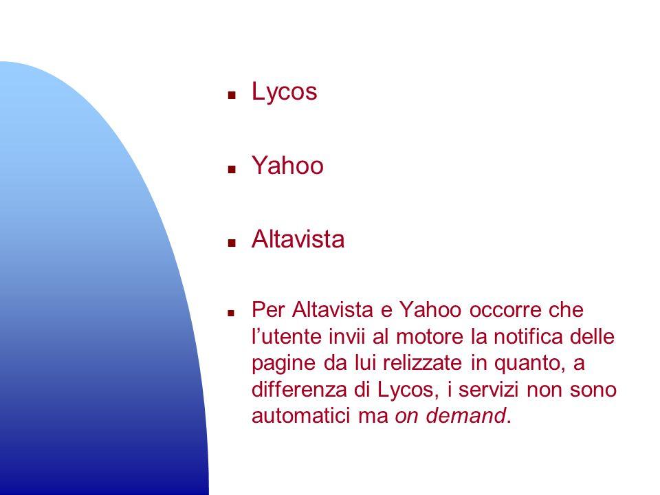 Lycos Yahoo. Altavista.