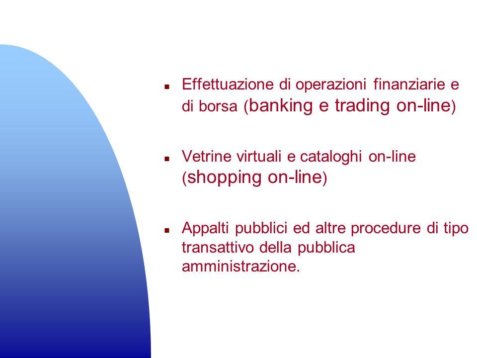 Effettuazione di operazioni finanziarie e di borsa (banking e trading on-line)