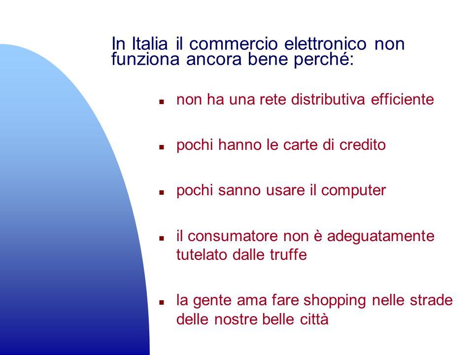 In Italia il commercio elettronico non funziona ancora bene perché: