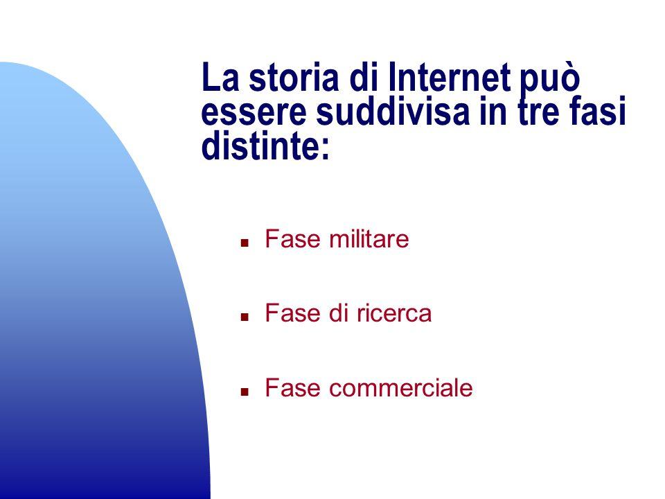 La storia di Internet può essere suddivisa in tre fasi distinte: