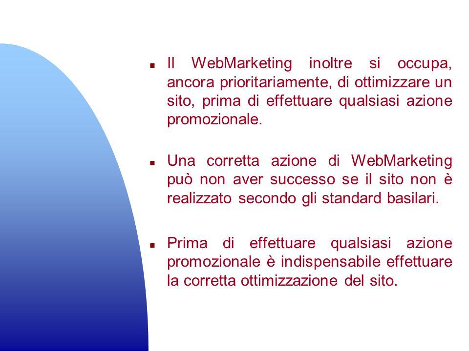 Il WebMarketing inoltre si occupa, ancora prioritariamente, di ottimizzare un sito, prima di effettuare qualsiasi azione promozionale.