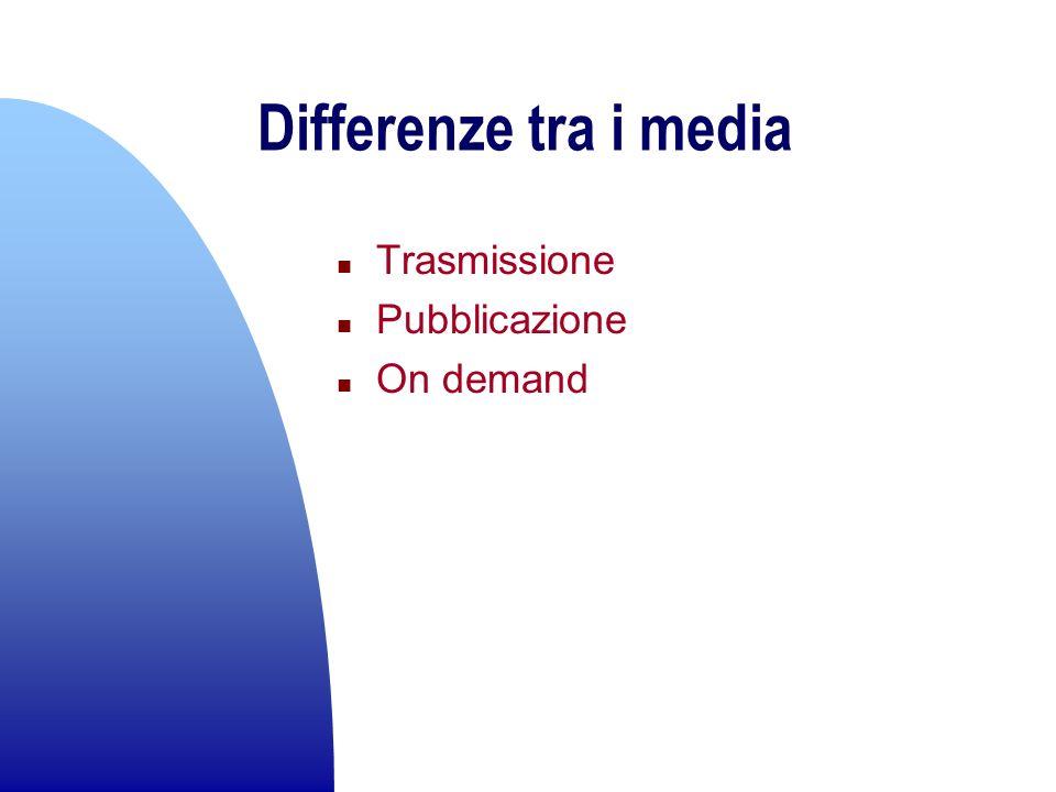 Differenze tra i media Trasmissione Pubblicazione On demand