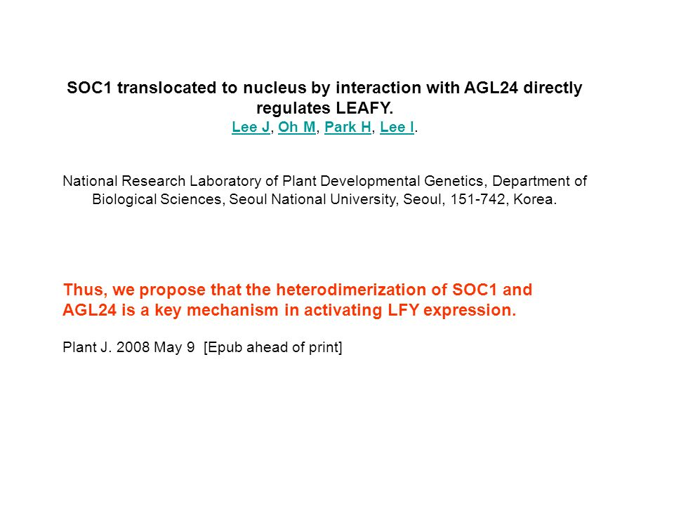 SOC1 translocated to nucleus by interaction with AGL24 directly regulates LEAFY.