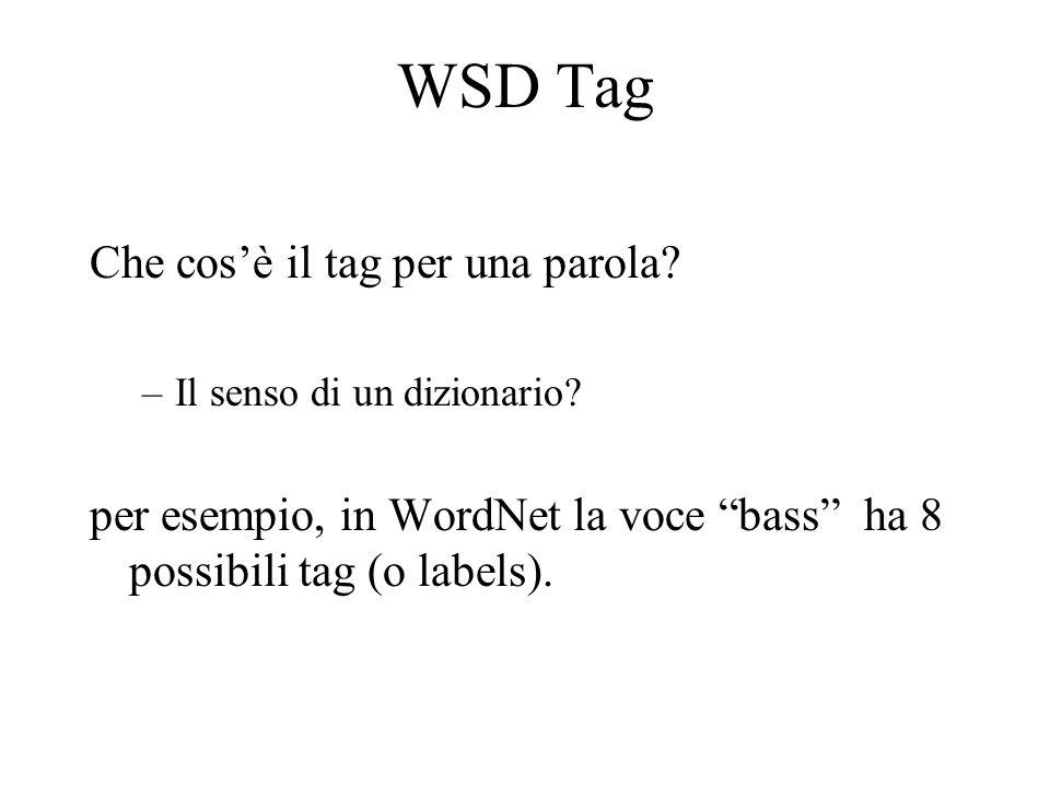 WSD Tag Che cos'è il tag per una parola