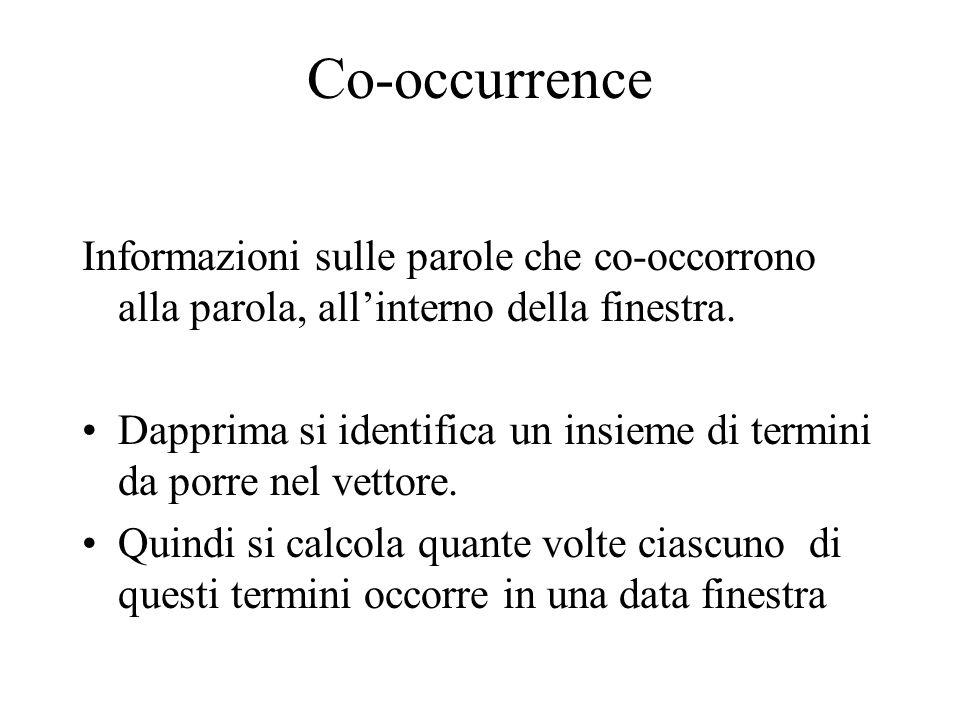 Co-occurrence Informazioni sulle parole che co-occorrono alla parola, all'interno della finestra.