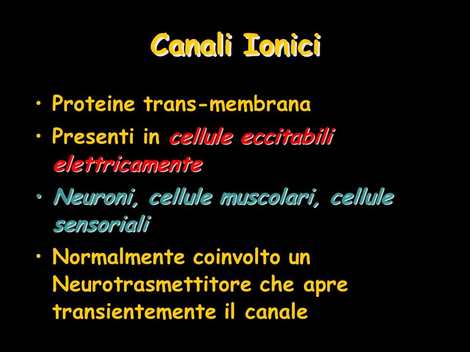 Canali Ionici Proteine trans-membrana