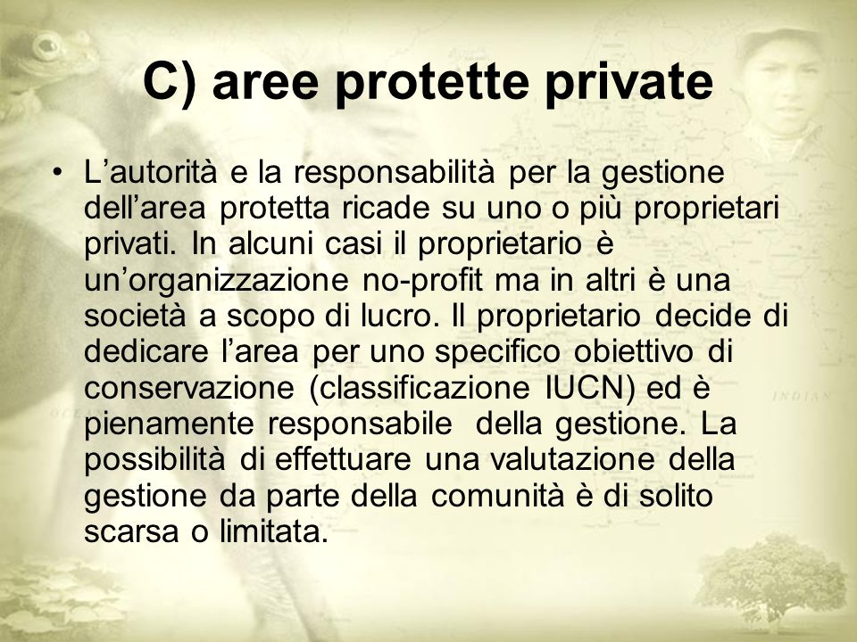 C) aree protette private