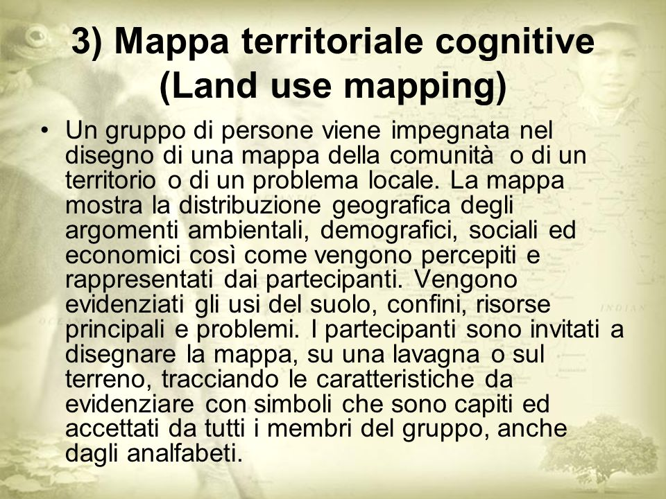 3) Mappa territoriale cognitive (Land use mapping)